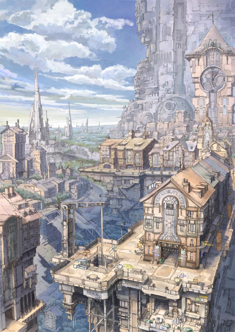 P站画师作品钟塔和千柱之城
