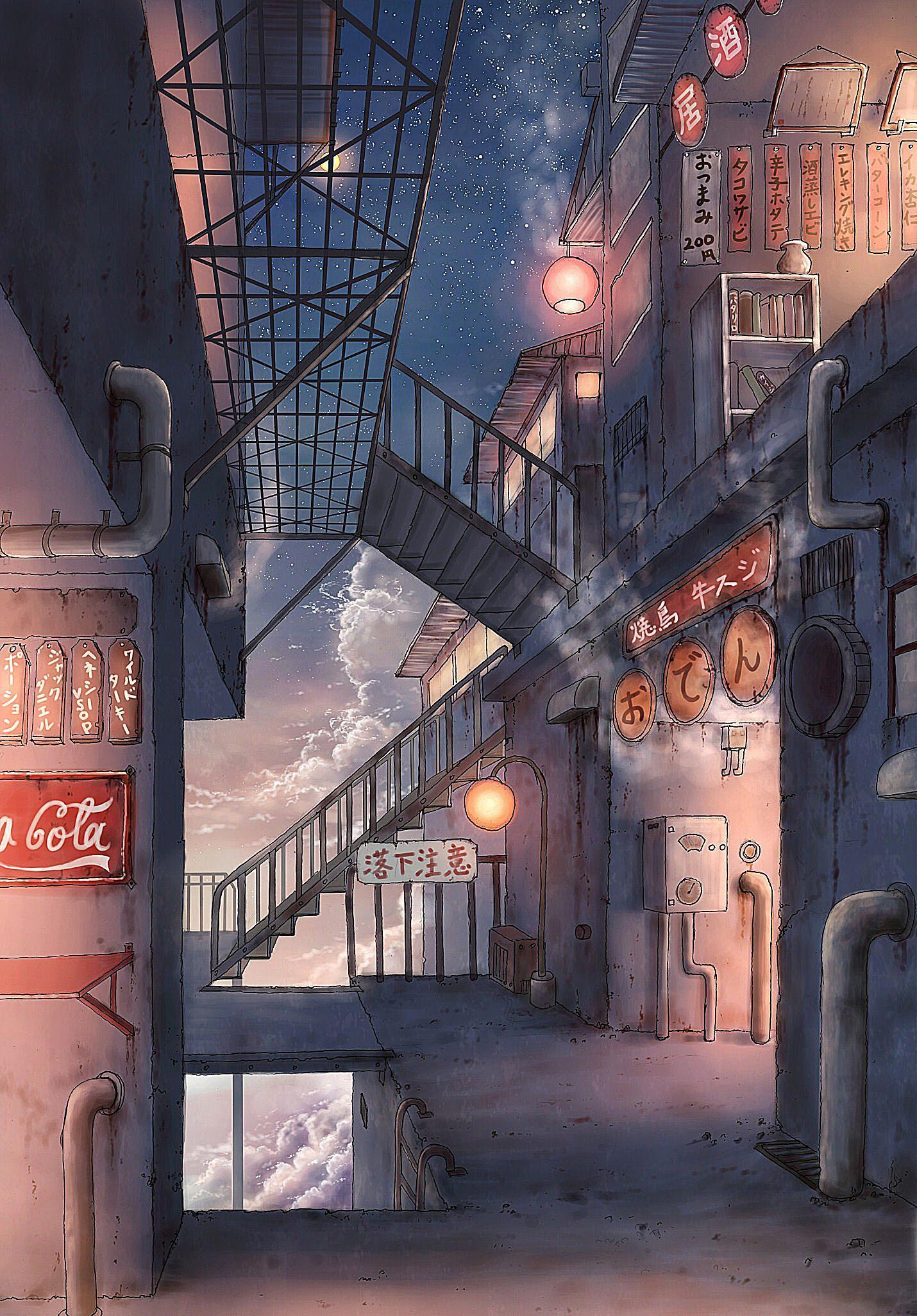 P站画师作品废弃工厂的酒馆胡同