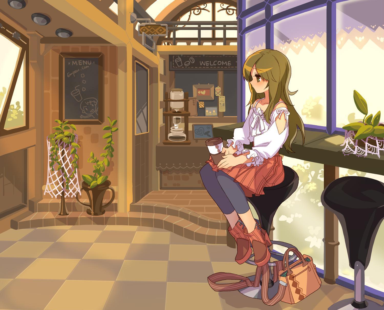 P站画师作品Min in cafe