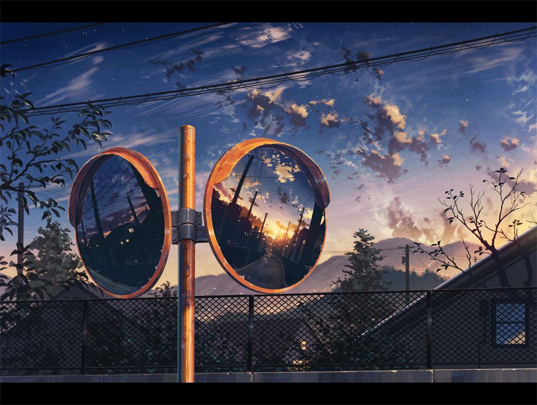 P站画师作品镜中的夕阳