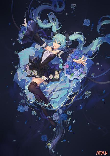 P站画师作品_Miku-  Blue