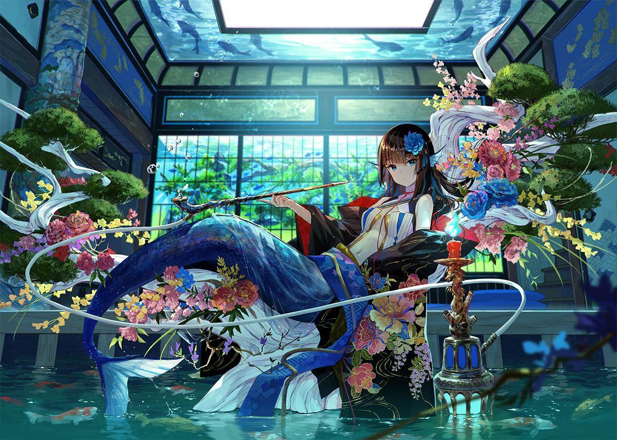 P站画师作品里面房间的美人鱼