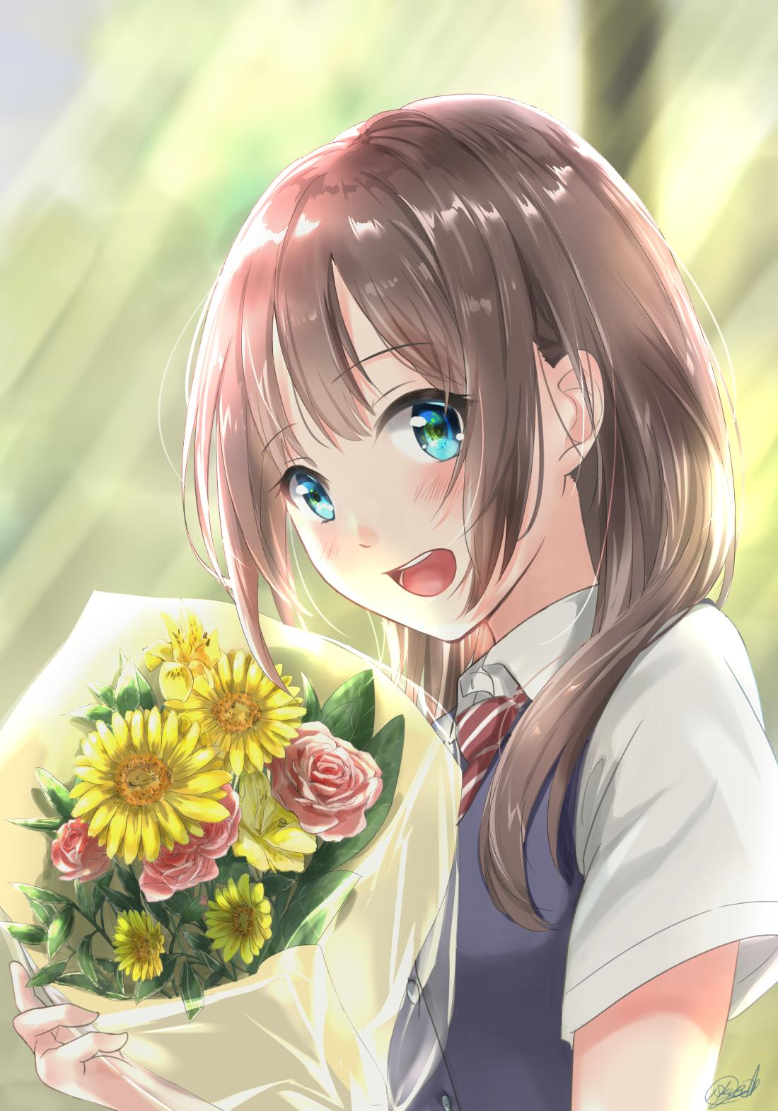 P站画师作品把花束送给你