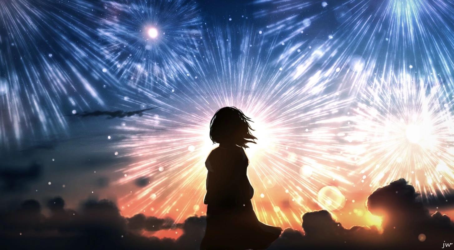 P站画师作品你曾如烟花绽放在我的天空。