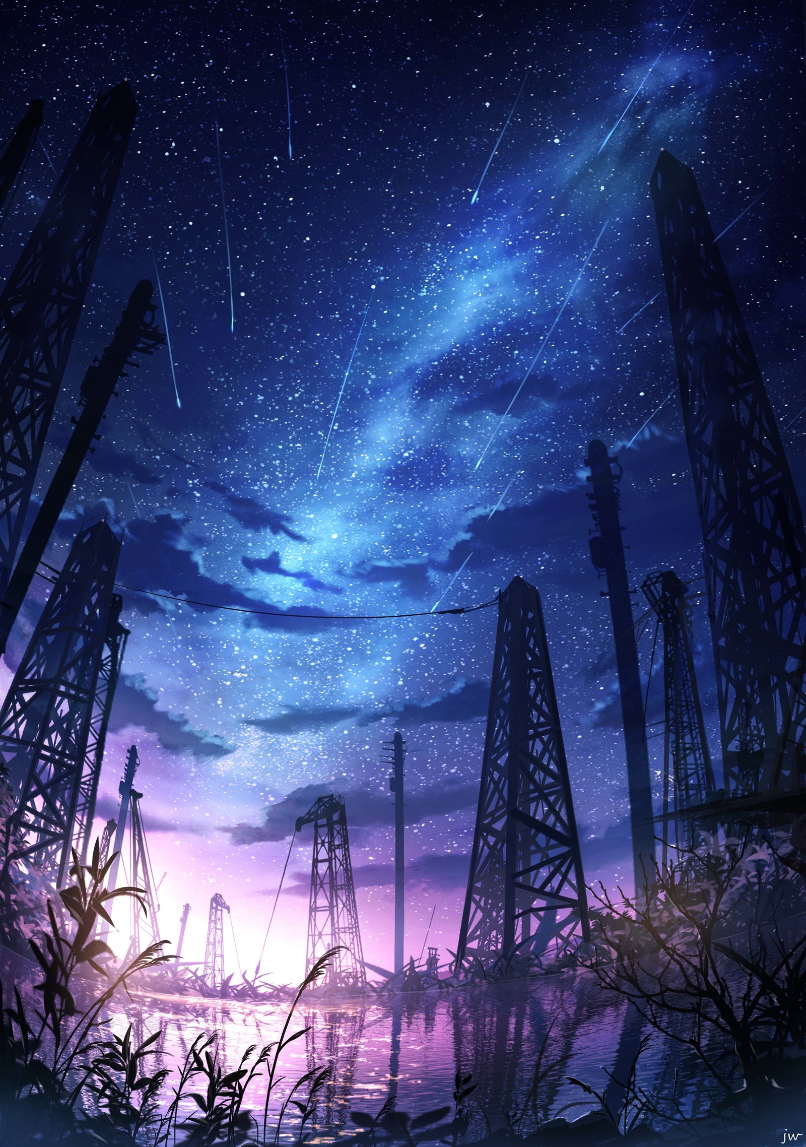 P站画师作品芦苇旁の星光