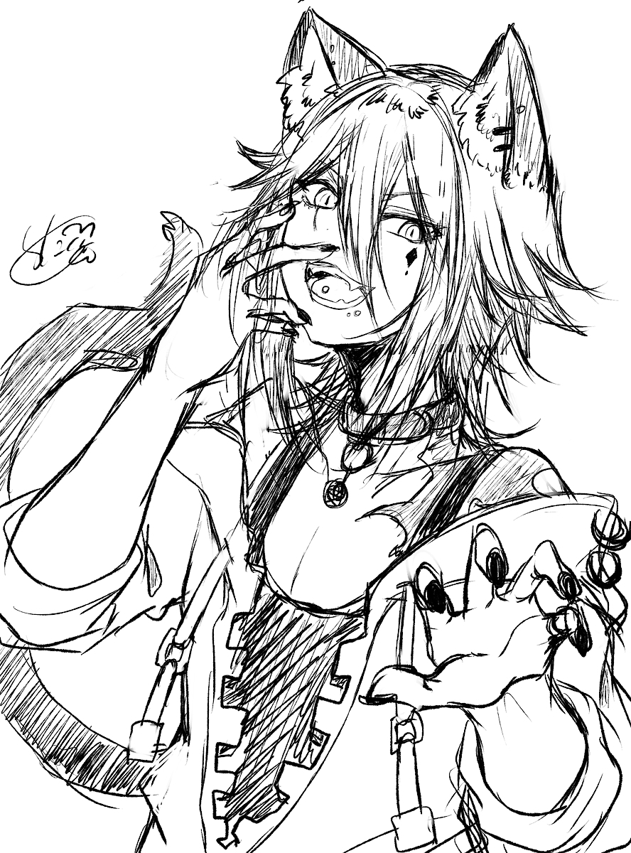 P站画师作品らくがき黒猫