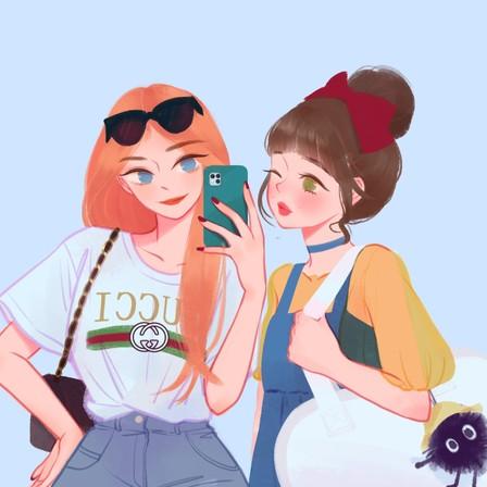 P站画师作品_我和你 闺蜜头像插画